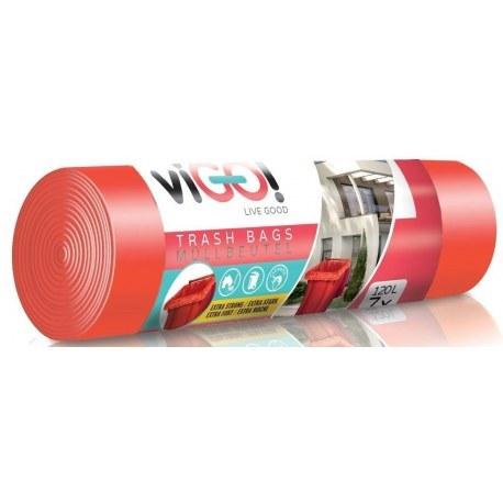 Worki na śmieci czerwone 120l 7 sztuk VIGO